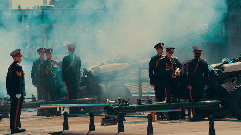 Telephoto Shot of a Gun Salute on Remembrance Day