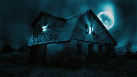 Haunted Mansion Scene, Full Moon, Magic Light, Dark Clouds, Seamless Looping Vid Animation