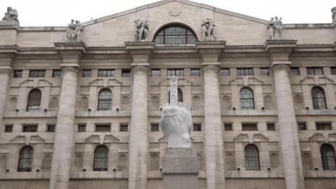 Italian Stock Exchange Building Finance In Milan Milano Italy Italia Footage