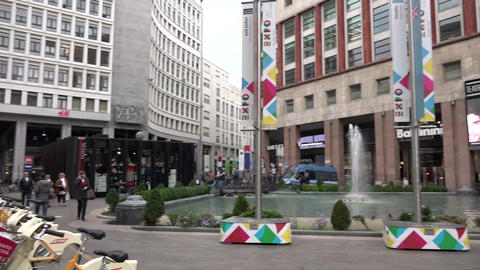 Piazza San Babila Square Buildings Architecture City People Milan Italy Footage