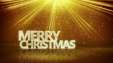 merry christmas sign and gold rays loopable animation 4k (4096x2304) Animation
