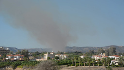 Smoke Of A Small Forest Fire In Cyprus, Time Lapse stock footage