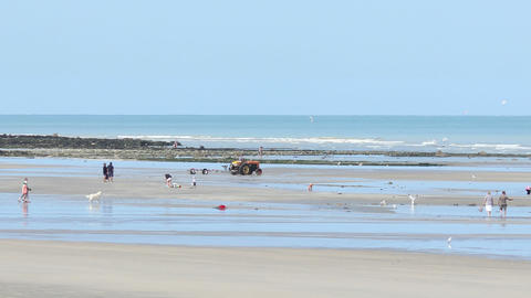 Normandy Beach Timelapse Travelling 01 stock footage