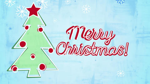 merry christmas card child's drawing style animation 4k (4096x2304) Animation