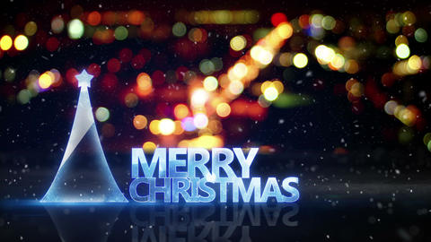 merry christmas text and city bokeh lights loop 4k (4096x2304) Animation