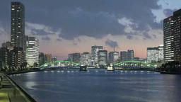 ライトアップされた勝どき橋と照明を灯したビル群と流れ Footage