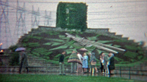 1965: The hydro floral clock of Ontario Niagara Falls National Park Footage
