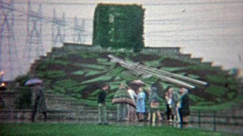 1965: The hydro floral clock of Ontario Niagara Falls National Park Footage