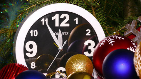 Clock and christmas toys in a red bag, timelapse Footage