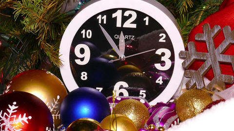 Clock and christmas toys in a red bag Footage