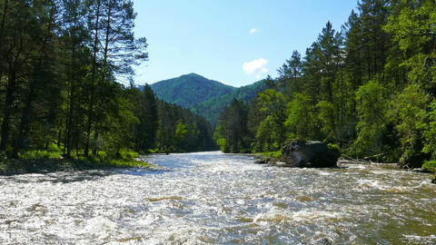 mountain river landscape, Altai, Russia Footage