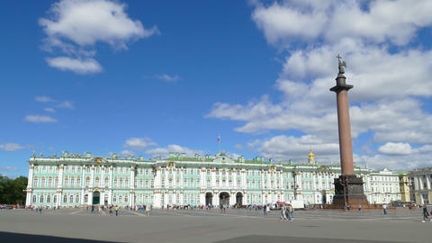 Hermitage and Palace Square in St. Petersburg - timelapse, 4k Footage