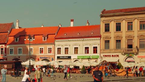 Romanian Town of Brasov - Main Square (Piata Sfatului) Footage