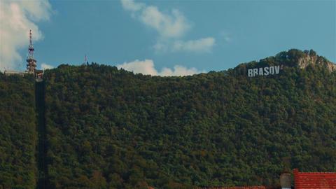 Romanian Town of Brasov - Landmark Mountain Footage