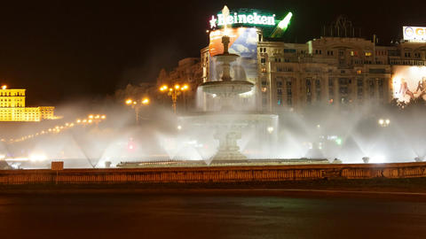 Bucharest, Romania Night Timelapse in the Roundabout at Union Square (Piata Unir Footage