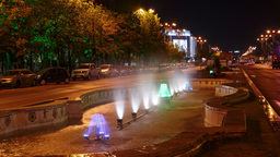 Bucharest, Romania Night Timelapse of the Water Fountains at Union Square (Piata Footage