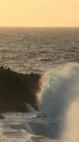 時化の波しぶきと岩礁の夕景 影片素材