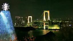 台場メモリアルツリーとレインボーブリッジと東京タワー Footage