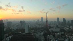東京タワーとビル群と夕日 Footage