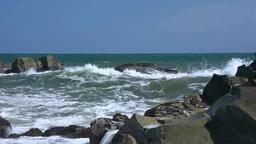 波しぶきと岩礁 Footage