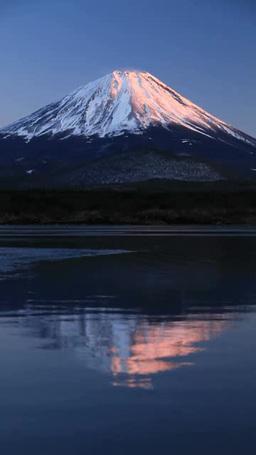 逆さ紅富士と精進湖 夕景 영상물