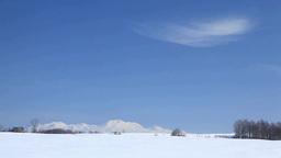 雪原と大雪山と民家 ビデオ