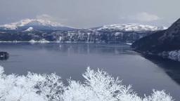 霧氷の摩周湖と斜里岳と摩周岳 Footage