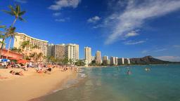 海水浴客とワイキキビーチとダイヤモンドヘッド Footage