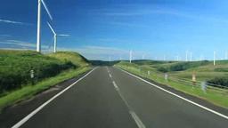 風力発電の風車と道路走行 Footage