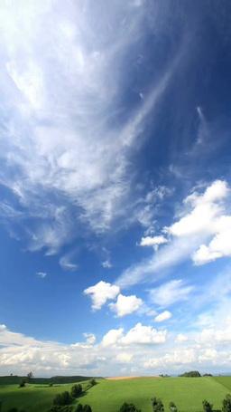 牧草地の草原などの丘と流れ動く雲 영상물