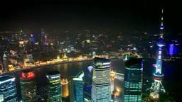 浦東新区のビル群と外灘と東方明珠塔 夜景 Footage