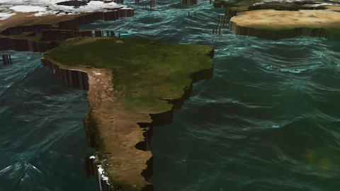 World Pan of 3D Map with Clouds and Sun Stock Video Footage