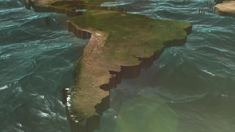 3D World Map Pan to South America With Sun Stock Video Footage