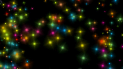 falling color particles & stars shaped as... Stock Video Footage