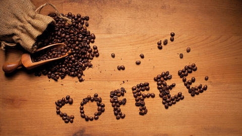 Coffee On Wooden Background Footage