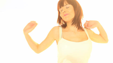 Woman Enjoying Early Morning Stretch Stock Video Footage