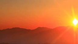 朝日と浅間山などの山並み Footage