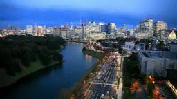 霞ヶ関方向のビル群と東京タワーと内堀通り 薄暮の夜景 Footage