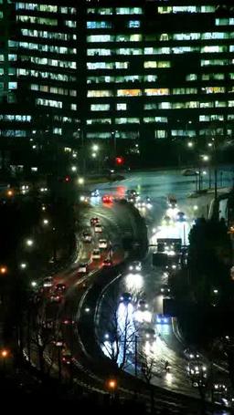 雨に濡れた内堀通り 夜景 Footage