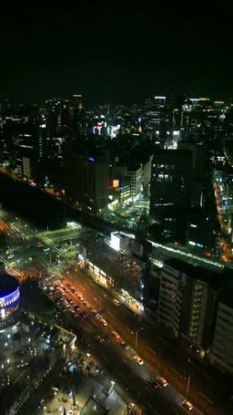 水道橋交差点と丸の内方向のビル群とJR水道橋駅 夜景 Footage