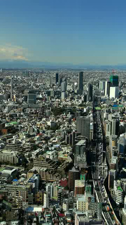 首都高速3号線と渋谷方向のビル群と富士山 Footage