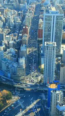 日比谷通りと首都高速都心環状線を流れる車 Footage