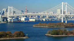 レインボーブリッジと東京タワーと行き交う船 Footage