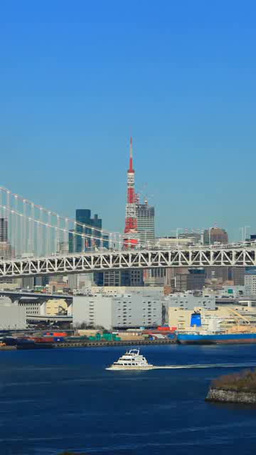 Ship and Tokyo Tower and Rainbow Bridge Footage