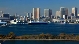 Ferry and Tokyo Tower and Rainbow Bridge Footage