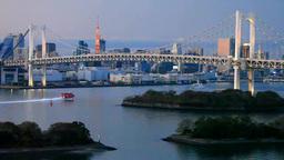 レインボーブリッジと東京タワーとフェリー 夕景 Footage
