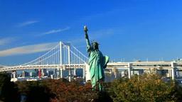 Rainbow Bridge and Statue of Liberty Footage