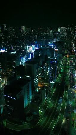 銀座と新橋のビル群と東京高速道路の夜景 Footage