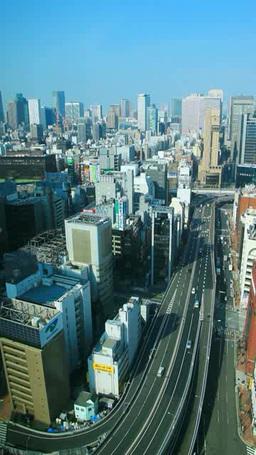 銀座と新橋のビル群と東京高速道路 Footage