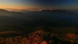 カラマツ林の紅葉と八ケ岳と南アルプスなどの山並みと朝 Live Action